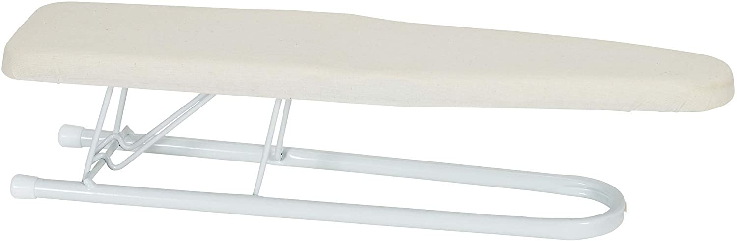"Household Essentials Basic Sleeve Mini Ironing Board | Natural Cover and White Finish | 4.5"" x 20"" Ironing Surface"