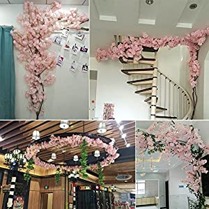 XYXCMOR Artificial Vines Silk Cherry Blossom Garland Fuax Hanging Flowers Fake Wreath for Indoor Outdoor Wedding Arch Party Wall Garden Home Patio Decorations 2pcs 5.9Ft Pink 5