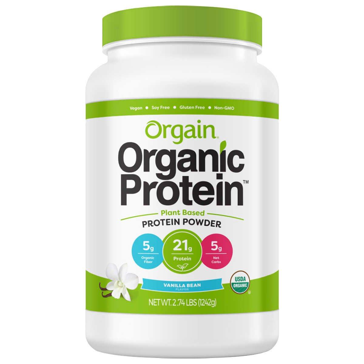 Orgain Organic Plant Based Protein Powder, Vegan, Non-GMO, Gluten Free, 2.03 Pound, 1 Count, Packaging May Vary (Vanilla Bean, 2.74 Pound)