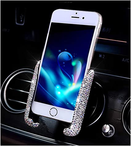 Universal Phone Holders Sparkling Stylish Cellphone Holder Blue Car Phone Holder Bling Crystal Phone Brackets for Car Air Went Mount Clip