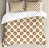 Lunarable Lion King Size Duvet Cover Set, Cartoon Style Animal Portraits Kings of the Forests of Africa Giant Mammal Pattern, Decorative 3 Piece Bedding Set with 2 Pillow Shams, Brown Beige