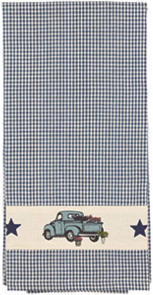 COCO Blue Farm Truck Gingham Plaid Kitchen Towel, Primitive Country Farmhouse Decor