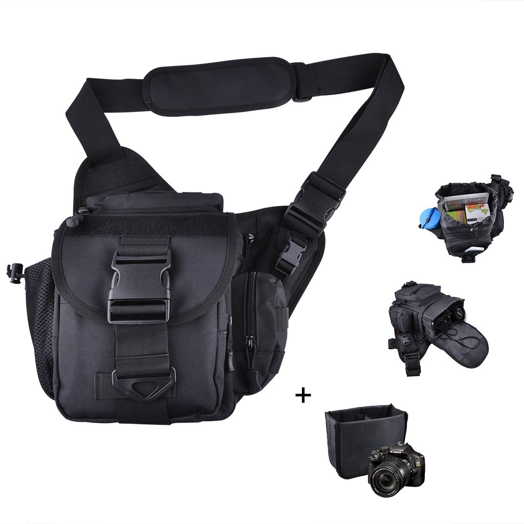 Qcute Camera Shoulder Bag, Tactical Sling Bag,Waterproof Multi-functional Tactical Military Messenger Shoulder SLR Camera Bag Pack Backpack with Shockproof Insert for Hiking Camping Trekking Cycling