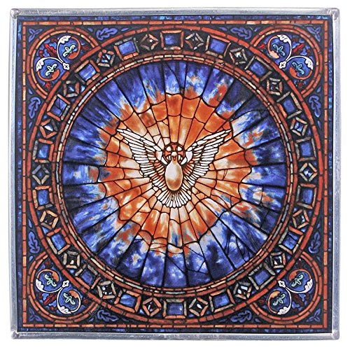 Design Toscano Stained Glass Panel - The Holy Spirit Square Stained Glass Window Hangings - Art Glass Window Treatments