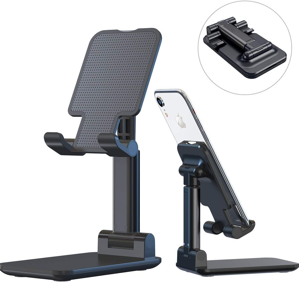Adjustable Cell Phone Stand, Fully Foldable Desktop Phone Holder Cradle Dock Holder,Tablet Stand for iPhone X Xr Xs max All Smart Phones and Tablets,Ipad(Black)