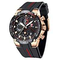 Chronograph für Herren Watch Casual Business Wristwatch Fashion Luxury Silicone Strap Sports Waterproof Clock