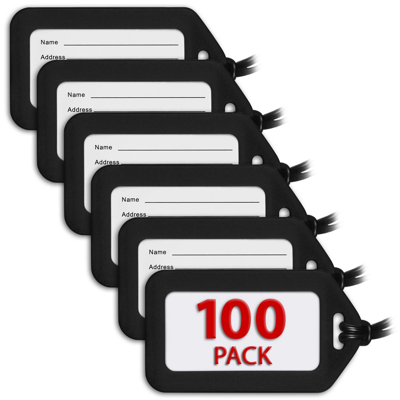 MIFFLIN Luggage Tags (Black, 100 PK), Bag Tag for Baggage, Suitcase Tags Bulk