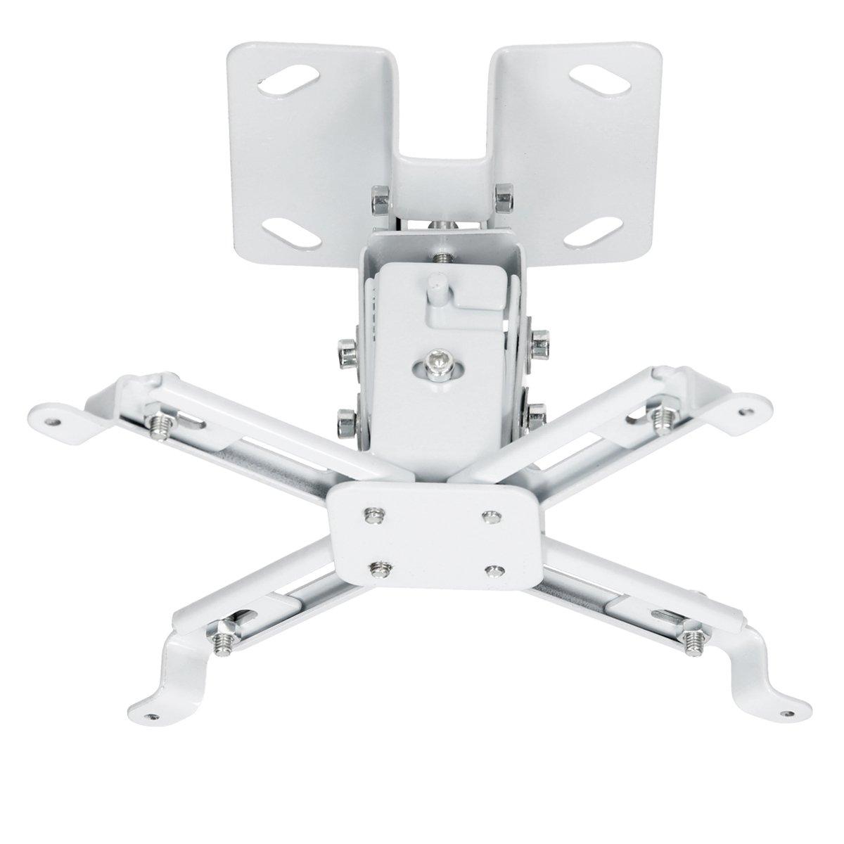 TALLA Universal. ECD Germany Soporte Universal para Proyector de Videos Capacidad de 25kg con 90mm de Distancia al Techo Color Blanco Incluye Taquetes y Tornillos para Montaje