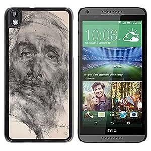 For HTC DESIRE 816 Case , Drawing Pencil Portrait Old Man - Diseño Patrón Teléfono Caso Cubierta Case Bumper Duro Protección Case Cover Funda
