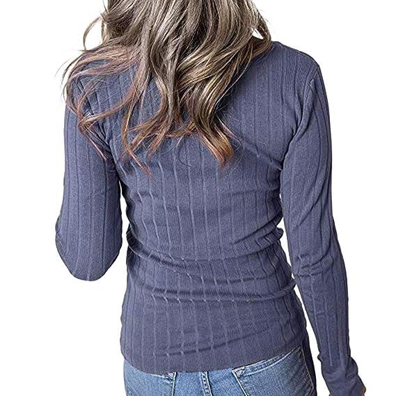 VRTUR Mujer Casual Sólido con Cuello En V Manga Larga con Botones Acanalados Suelta Suéter Top Blusa S-XL: Amazon.es: Ropa y accesorios