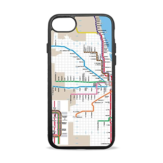 Subway Map Phone.Amazon Com Iphone 8 Cover Case With Chicago Subway Map Print Rubber