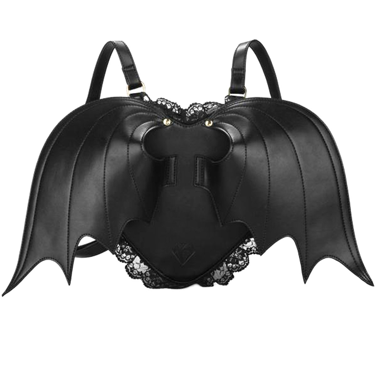 COOFIT Novelty Black Bat Wings Backpack Wing Gothic Goth Punk Lace Lolita Bag Nietoto
