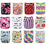 Babygoal Baby Cloth Diapers,One Size Adjustable Reusable Pocket 12pcs Diapers+12pcs Viscose from Bamboo Inserts+Wet Bag+4pcs Baby Wipes 12fg44-1