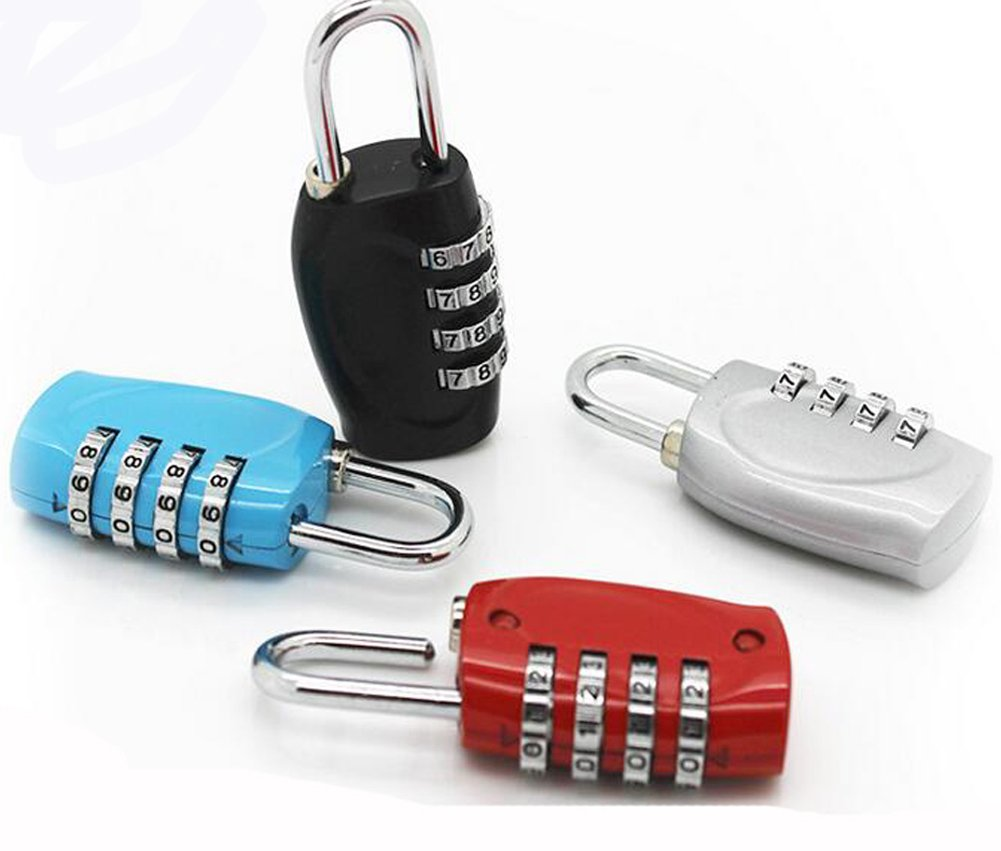 ZJY Combination Lock 4 Digit Padlock for School, Employee, Gym & Sports Locker, Case, Fence, Cabinet & Storage 4 pack stochastic color