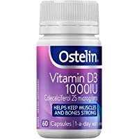 Ostelin Vitamin D3 1000IU Capsules - Maintains Bone and Muscle Strength - Helps Boost Calcium Absorption, 60 Capsules