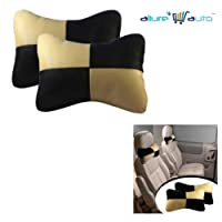 Allure Auto Designer Seat Neck Cushion Pillow for Car (Black And Beige)for Hyundai i20 [2010-2012] Asta 1.4 CRDI with AVN