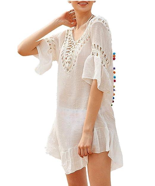 huge discount cae91 57812 Donna Bikini Cover Up Eleganti Trasparente Corto Vestito ...