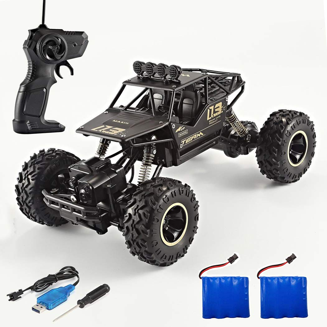 RC Car Rock Crawler 1/16 Off-Road Vehicle 4WD Electric Off Road Rock Crawler RC Monster Truck, 2.4Ghz Remote Control Car Toy with 2 Rechargeable Battery Packs & 3 Dry Batteries & 1 Screwdriver