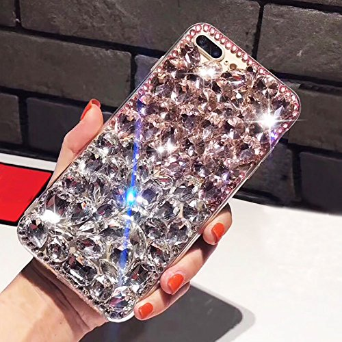 For iPhone 5 Cute Sparkle Jewels Case,Aearl TPU Soft Luxury 3D Stunning Stones Crystal Rhinestone Bling Full Diamond Glitter Shinning Cover with Screen Protector for iPhone SE 5 5S - Clear and Pink