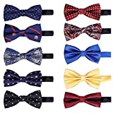 10 Pcs Elegant Pre-tied Bow ties Formal Tuxedo Bowtie Set with Adjustable Neck Band,Gift Idea For Men And Boys (10Pcs2)
