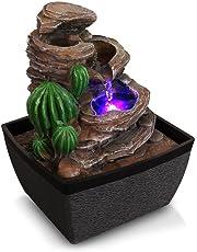 SereneLife - Fuente de agua eléctrica de computadora de 3 niveles con luz LED para interiores y exteriores, portátil, decorativa, diseño de cascada de meditación, incluye bomba sumergible y adaptador de alimentación de 12 V