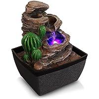 SereneLife - Fuente de agua eléctrica de computadora de 3 niveles con LED para decoración de interiores y exteriores, portátil, mesa decorativa, cascada, meditación, incluye bomba sumergible y adaptador de alimentación de 12 V