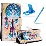 Strap Leather Case for Samsung Galaxy Note 8,Wallet Flip Case for Samsung Galaxy Note 8,Herzzer Bookstyle Stylish 3D Pretty Blue Dreamcatcher Pattern Magnetic Stand PU Leather Case with Soft TPU