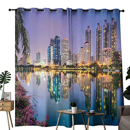(Room Darkening Wide Curtains Wanderlust Decor Collection Bangkok Thailand at Benjakiti Park Lake Flowers Palms Southeast Asia Touristic Places Print Navy Tie Up Window Drapes Living Room W72
