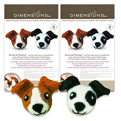 Dimensions Felting Kits for Beginners, Dog -- Wool Felting Learning Kit with Instructions and Tools (Makes 4 Dog Woolies) (Round Woolies) ()
