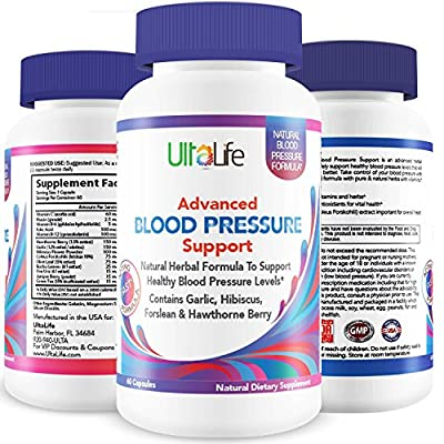 UltaLife's Advanced Blood Pressure Supplements are the BEST HIGH BLOOD PRESSURE PILLS to Lower BP Naturally with Potent Vitamins & Herbs including Garlic, Hawthorn Berry & Forskolin for Weight Loss, Stress Reduction & Heart Health
