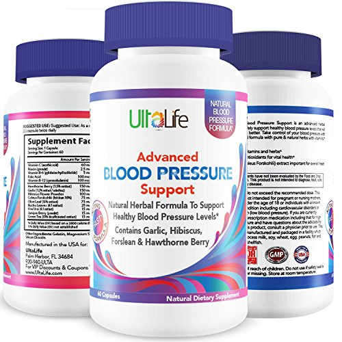 UltaLife's Advanced Blood Pressure Supplements are the BEST HIGH BLOOD PRESSURE PILLS to Lower BP Naturally with Potent Vitamins & Herbs including Garlic, Hawthorn Berry & Forskolin for Weight Loss, Stress Reduction & Heart Health (Advanced Garlic Complex compare prices)