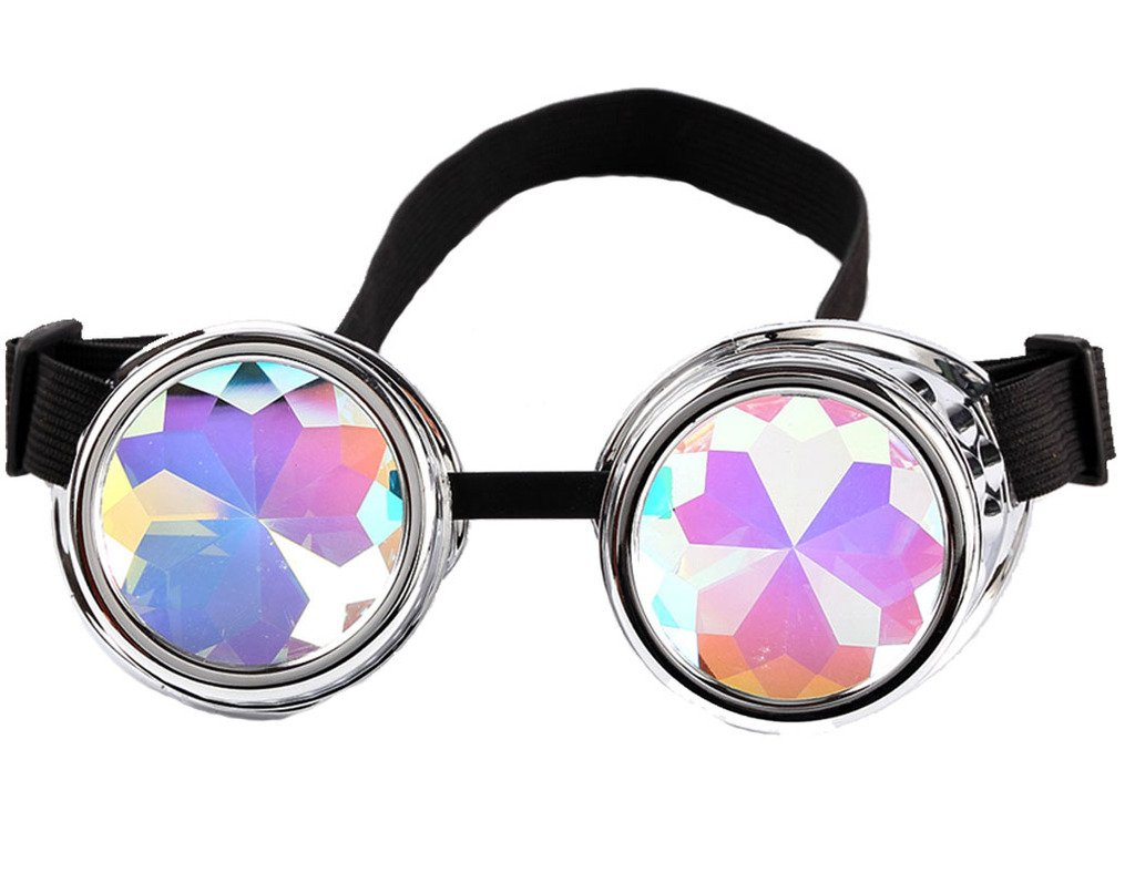 Kaleidoscope Steampunk Rave Diffraction Goggles with Rainbow Crystal Glass Lens