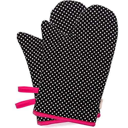 NEOVIVA Heat Resistant Oven Mitts for Large Hands, Heat Resistant Kitchen Gloves for Baker, Set of 2, Polka Dots ()