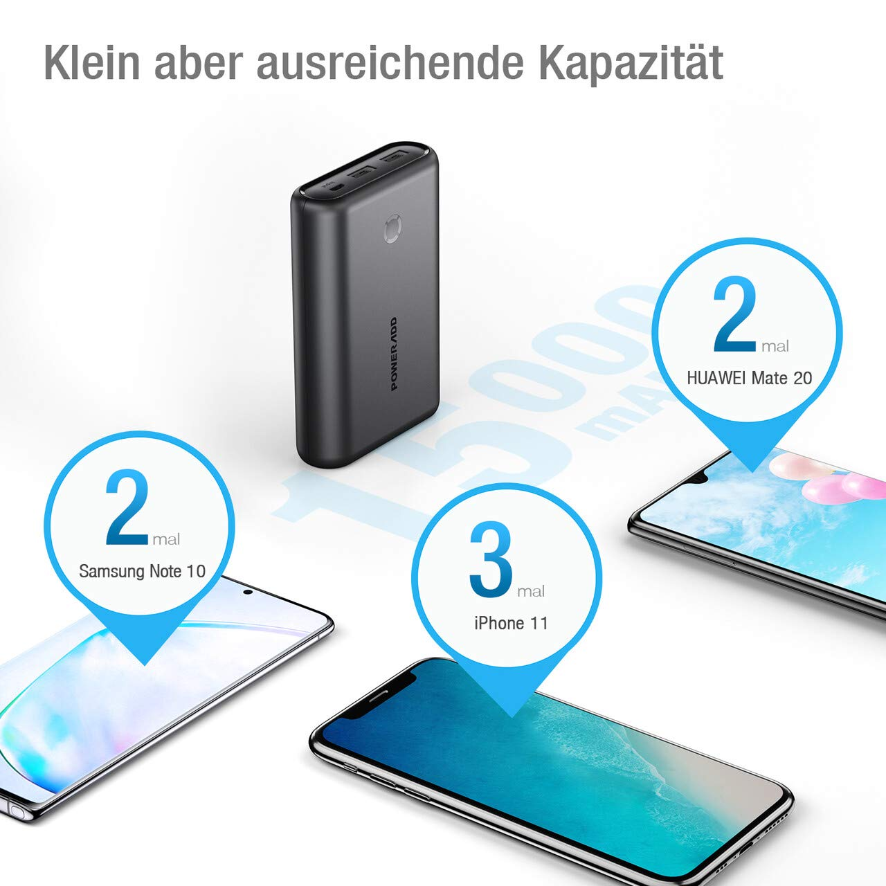 POWERADD EnergyCell Powerbank, 15000mah Externer Akku, Mini Portable Power Bank Tragbares Ladegerät für Handy, iPhone, iPad, Samsung Galaxy Huawei und weitere Smartphones