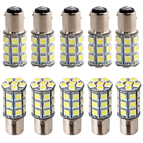 Everbrightt 10-Pack White S25 5050 1157 27SMD LED Replacement Bulb For RV Camper SUV MPV Car Turn Tail Signal Bulb Brake Light Lamp Backup Lamps Bulbs High LUMS (DC-12V)