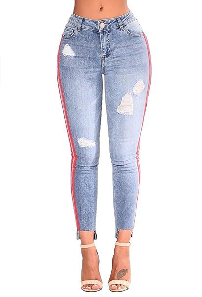 8206d84d94 Minetom Lavado Jeans Mujer Cintura Alta Pantalones Elástico Flacos Verano  Moda Mezclilla Pantalones Ripped Vaqueros Leggings  Amazon.es  Ropa y  accesorios