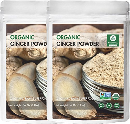 Naturevibe Botanicals Organic Ginger Root Powder-2 lbs (2 pack of 1lbs each), Zingiber officinale Roscoe | Non-GMO verified, Gluten Free and Kosher