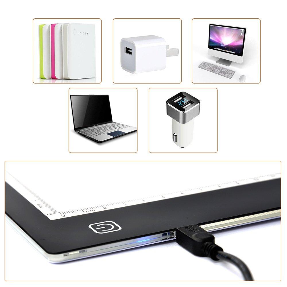ATPWONZ A4 LED Light Box Portatile con Ricarica USB Sottile Flat Touch Strumenti di Disegno