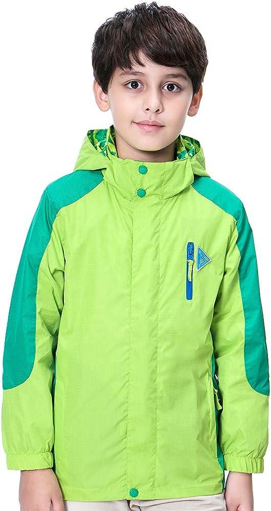 子供服 ウインドブレーカー ジュニア マウンテンパーカー キッズ ジャケット 男の子 ジャンパー 子供 女の子 レインコート 雨合羽 フード付き アウトドアジャケット 両面着用 多機能 防風 防水 防寒 軽量 登山 ランニング 遠足 グリーン 150