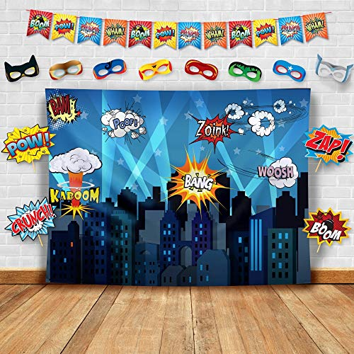 Trunk Or Treats (Superhero Cityscape Photography Backdrop, Studio Props, Flags and Mask DIY Kit. Great as Super Hero City Photo Booth Background - Birthday Party and Event)