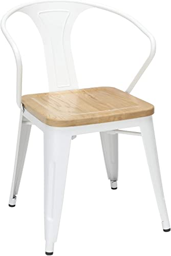 OFM 161 Collection Industrial Modern 4 Pack Fully Assembled 18″ Mid Back Dining Chairs w/ Arms