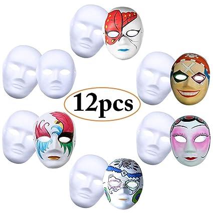 Máscara Blanca, Outgeek 12PCS DIY Máscara Blanca Para Pintar De Disfraces Decoración De Bricolaje Carnaval De Veneciano Traje De Halloween Cosplay ...