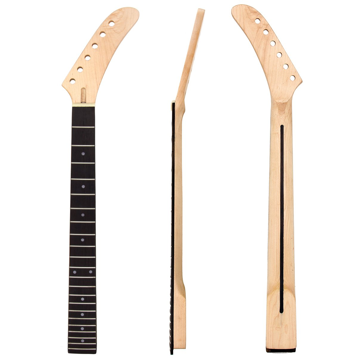 Kmise Banana Electric Guitar Neck Parts Replacement Clear Satin Maple 22 Frets Fingerboard and Back Inlay Bolt On
