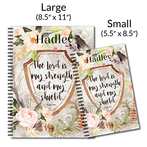 Shield Personalized Religious Inspiration Spiral Notebook/Journal, 120 College Ruled or Checklist Pages, durable laminated cover, and wire-o spiral. 8.5x11 | 5.5x8.5 | Made in the USA Photo #4