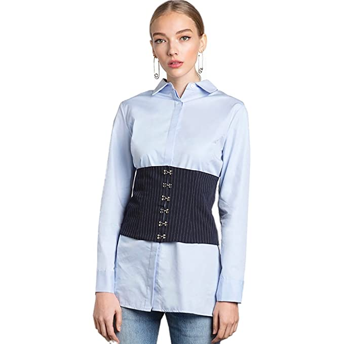 eb5ee57d0dc Mr. FF Women s Long Sleeve Blue Button Down Shirts