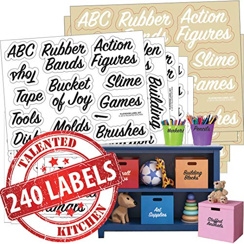 Playroom Label Set - 240 Preprinted Labels. Black and White Words on Clear Sticker (120 each), Water Resistant. Storage Organization Labels for Toys Art Supply Colors Trucks Blocks Games Boards Dolls