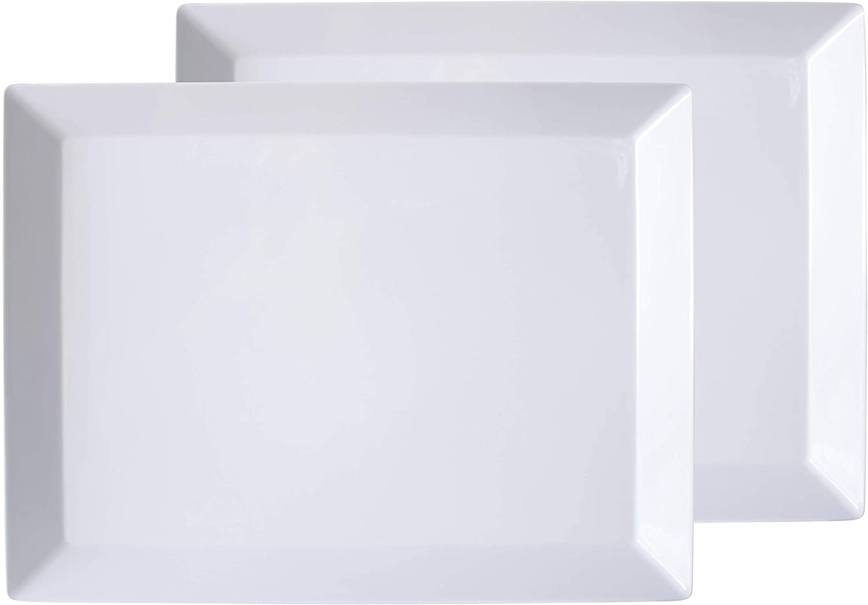 "Virtual Elements Set of 2 Melamine Rectangular Serving Trays/Platters - White 18"" x 13.7"""