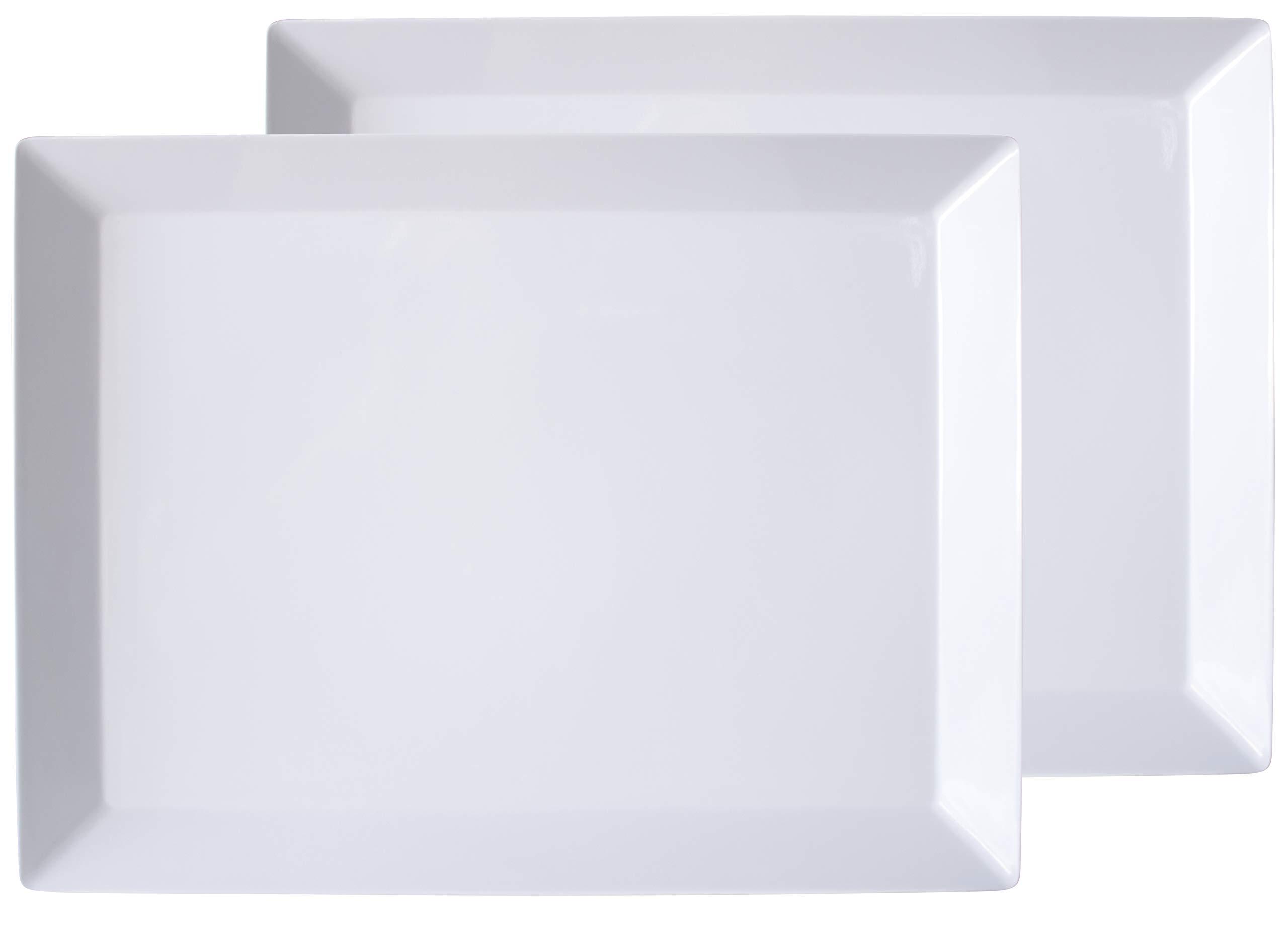 Virtual Elements Set of 2 Melamine Rectangular Serving Trays/Platters - White 18'' x 13.7''