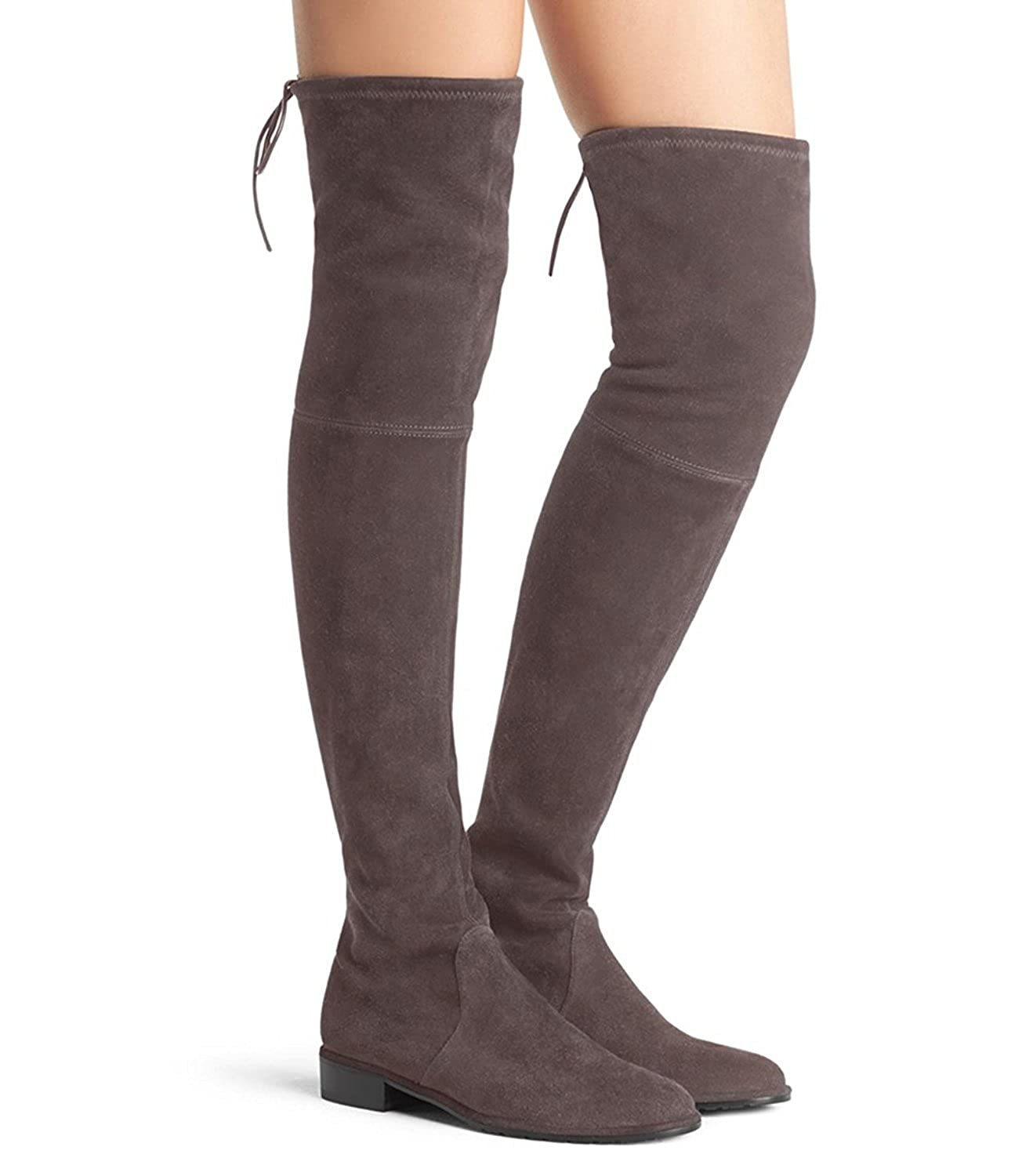 34ea05369da Jushee Knee High Boots for Women Round Toe Thigh High Over The Knee Boots  Stretch Suede Flat Heel Tall Booties Taupe Tan Size 13 UK 46 EU   Amazon.co.uk  ...