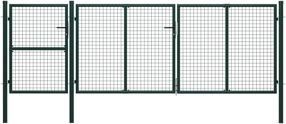 Disfruta Tus Compras con Puerta de jardín de Acero Verde 400x125 cm: Amazon.es: Hogar
